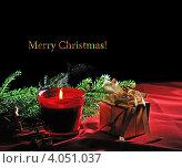 Купить «Рождественская композиция с красной горящей свечой на темном фоне», фото № 4051037, снято 5 декабря 2011 г. (c) Литова Наталья / Фотобанк Лори