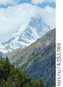 Купить «Летний вид на пик Маттерхорн (Швейцарские Альпы)», фото № 4053069, снято 7 июня 2012 г. (c) Юрий Брыкайло / Фотобанк Лори