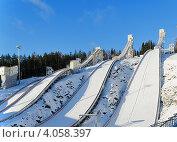 Лыжные трамплины в Нижнем Тагиле на горе Долгой, Россия. Стоковое фото, фотограф Сергей Завьялов / Фотобанк Лори