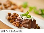Шоколадное желе с орехами и мятой. Стоковое фото, фотограф Peredniankina / Фотобанк Лори