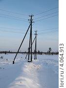 Купить «Строительство высоковольтной воздушной линии электропередач на месторождение в Западной Сибири», эксклюзивное фото № 4064913, снято 12 ноября 2012 г. (c) Валерий Акулич / Фотобанк Лори