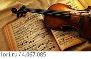 Скрипка лежит на раскрытых нотах. Стоковое фото, фотограф Ирина Свириденко / Фотобанк Лори