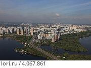 Купить «Москва, Строгино и Строгинское шоссе, вид с воздуха», фото № 4067861, снято 6 мая 2012 г. (c) Михеев Алексей / Фотобанк Лори
