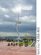 Телебашня на холме Монжуик в Барселоне (2011 год). Редакционное фото, фотограф Алексей Яковлев / Фотобанк Лори