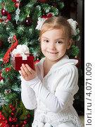 Купить «Счастливая девочка держит в руках подарок на фоне новогодней елки», фото № 4071009, снято 4 ноября 2012 г. (c) Оксана Гильман / Фотобанк Лори