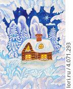 Купить «Дом в зимнем пейзаже и рамке из снега, Рождественская открытка, акварель, гуашь», иллюстрация № 4071293 (c) ИВА Афонская / Фотобанк Лори