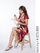 Купить «Миловидная девушка вышивает крестиком», фото № 4073889, снято 1 декабря 2012 г. (c) Михаил Иванов / Фотобанк Лори