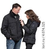 Купить «Молодые люди беседуют», фото № 4074325, снято 10 ноября 2012 г. (c) Михаил Иванов / Фотобанк Лори