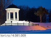 Купить «Зимний ночной пейзаж, беседка Островского в Костроме», фото № 4081009, снято 14 марта 2012 г. (c) ElenArt / Фотобанк Лори