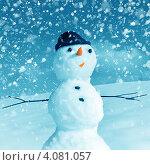 Купить «Снеговик под снегопадом», иллюстрация № 4081057 (c) ElenArt / Фотобанк Лори