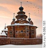 Старая деревянная церковь. Стоковое фото, фотограф Анфимов Леонид / Фотобанк Лори