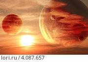 Купить «Космический закат», иллюстрация № 4087657 (c) Лукиянова Наталья / Фотобанк Лори