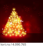 Сияющая новогодняя елка. Стоковая иллюстрация, иллюстратор Евгения Малахова / Фотобанк Лори