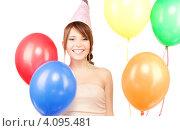 Купить «Жизнерадостная юная девушка с воздушными шарами на белом фоне», фото № 4095481, снято 4 октября 2009 г. (c) Syda Productions / Фотобанк Лори