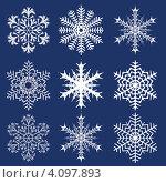 Купить «Рождественский фон с белыми снежинками», иллюстрация № 4097893 (c) Катыкин Сергей / Фотобанк Лори
