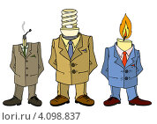 Купить «Три человека со спичкой, свечей и лампочкой вместо головы», иллюстрация № 4098837 (c) Катыкин Сергей / Фотобанк Лори