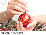 Купить «Новогодняя игрушка в руках», фото № 4099105, снято 5 декабря 2012 г. (c) Алексей Щукин / Фотобанк Лори