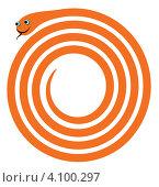Веселая оранжевая змейка. Стоковая иллюстрация, иллюстратор Tatyana Krasikova / Фотобанк Лори