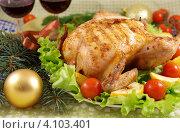 Купить «Курица с яблоками на Новый год», фото № 4103401, снято 10 декабря 2012 г. (c) Natalya Sidorova / Фотобанк Лори