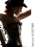 Купить «Силуэт девушки в корсете и щляпе со стремянкой», фото № 4107989, снято 30 сентября 2009 г. (c) Syda Productions / Фотобанк Лори