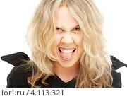 Купить «Сумасшедшая блондинка показывает язык на белом фоне», фото № 4113321, снято 25 марта 2007 г. (c) Syda Productions / Фотобанк Лори