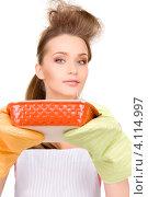 Купить «Домохозяйка в фартуке с керамической формой для запекания в руках», фото № 4114997, снято 14 марта 2010 г. (c) Syda Productions / Фотобанк Лори