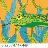 Купить «Зелёная змея на оранжевом фоне с зелёно-голубыми листьями», иллюстрация № 4117449 (c) Марина Антонцева / Фотобанк Лори