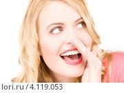 Купить «Привлекательная девушка сплетничает на белом фоне», фото № 4119053, снято 28 марта 2010 г. (c) Syda Productions / Фотобанк Лори