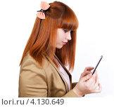 Стильная рыжеволосая девушка с планшетом. Стоковое фото, фотограф Logunov Maxim / Фотобанк Лори