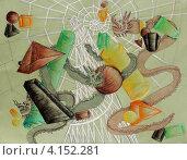 """Купить «Детский рисунок """"Драконы, башня Татлина и геометрические фигуры"""", гелевые ручки, пастель», фото № 4152281, снято 8 декабря 2010 г. (c) Ирина Иванова / Фотобанк Лори"""