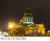 Купить «Санкт-Петербург, Исаакиевский собор, вечер», фото № 4163393, снято 24 декабря 2012 г. (c) ИВА Афонская / Фотобанк Лори