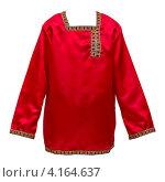 Купить «Красная русская национальная рубашка на белом фоне», фото № 4164637, снято 23 декабря 2012 г. (c) Юрий Плющев / Фотобанк Лори