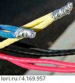 Купить «Новые алюминиевые электрические провода, подготовленные для подключения к электрической сети», фото № 4169957, снято 7 декабря 2012 г. (c) Олег Пчелов / Фотобанк Лори