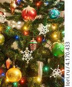 Купить «Украшения на новогодней ёлке», эксклюзивное фото № 4170433, снято 31 декабря 2012 г. (c) Dmitry29 / Фотобанк Лори