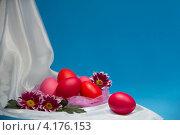 Пасхальный натюрморт из яиц и хризантем. Стоковое фото, фотограф Диана Гарифуллина / Фотобанк Лори