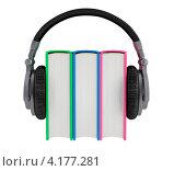 Аудиокниги. Три книжки и наушники на белом фоне. Стоковая иллюстрация, иллюстратор Андрей Воскресенский / Фотобанк Лори