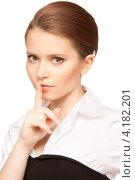 Купить «Болтливая веселая девушка делится сплетнями и слухами на белом фоне», фото № 4182201, снято 30 мая 2010 г. (c) Syda Productions / Фотобанк Лори