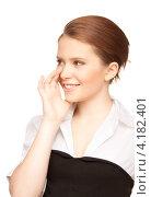 Купить «Болтливая веселая девушка делится сплетнями и слухами на белом фоне», фото № 4182401, снято 30 мая 2010 г. (c) Syda Productions / Фотобанк Лори