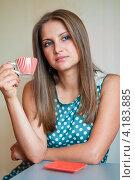 Купить «Красивая девушка пьёт чай за столиком», эксклюзивное фото № 4183885, снято 5 января 2013 г. (c) Игорь Низов / Фотобанк Лори