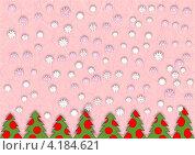 Фон, снежинки и елки. Стоковая иллюстрация, иллюстратор Ольга Рыбкина / Фотобанк Лори