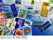 Купить «Коллаж на тему посткроссинга. Почтовые марки, конверты, штампы», эксклюзивная иллюстрация № 4185553 (c) Евгений Мухортов / Фотобанк Лори
