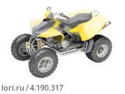 Купить «Желтый квадроцикл на белом фоне. Вид сверху», иллюстрация № 4190317 (c) Алексей Варлаков / Фотобанк Лори