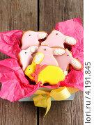 Купить «Коробка с пасхальным печеньем в виде кроликов», фото № 4191845, снято 28 декабря 2012 г. (c) Николай Охитин / Фотобанк Лори
