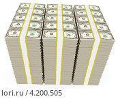 Купить «Пачки долларов на белом фоне», иллюстрация № 4200505 (c) Сергей Куров / Фотобанк Лори