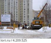 Купить «Реконструкция магистральных трубопроводов, район Новокосино, Москва», эксклюзивное фото № 4209525, снято 17 января 2013 г. (c) lana1501 / Фотобанк Лори