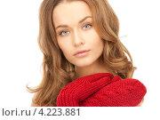 Купить «Очаровательная молодая женщина в вязаных рукавицах на белом фоне», фото № 4223881, снято 10 октября 2010 г. (c) Syda Productions / Фотобанк Лори