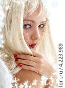 Купить «Портрет очаровательной юной девушки на фоне со снежинками», фото № 4223989, снято 14 августа 2006 г. (c) Syda Productions / Фотобанк Лори