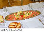 Купить «Блюдо с красной рыбой», эксклюзивное фото № 4229461, снято 25 сентября 2011 г. (c) Алёшина Оксана / Фотобанк Лори