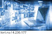 Купить «Голубой коллаж с ноутбуком, фотографиями и двоичным кодом», фото № 4230177, снято 1 марта 2019 г. (c) Sergey Nivens / Фотобанк Лори