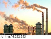 Дымящиеся трубы завода. Стоковое фото, фотограф Александр Новиков / Фотобанк Лори